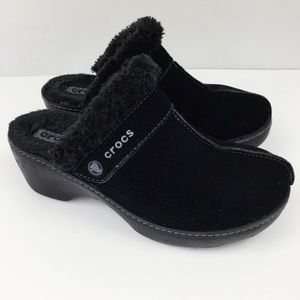 Crocs Black Suede Heels Sheepskin Clogs Comfort
